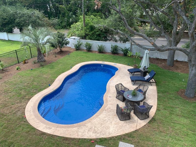 wavy oval in-ground swimming pool in backyard